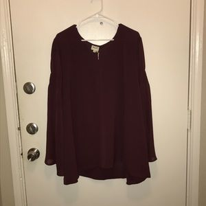 NWT H.I.P. Maroon Long Sleeve Blouse size 3X